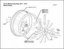 1911-1917 Front Wheel Assembly Wood Felloe