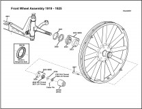 1919-1925 Front Wheel Assembly Steel Felloe