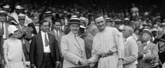 Walter Johnson and Calvin Coolidge shake hands