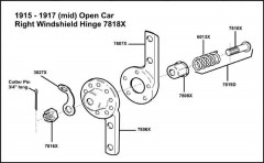 1915-1917 Open Car Right Windshield Hinge 7818-X Assembly (Mid Year)