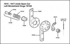 1915-1917 Open Car Left Windshield Hinge 7819-X Assembly (Mid Year)